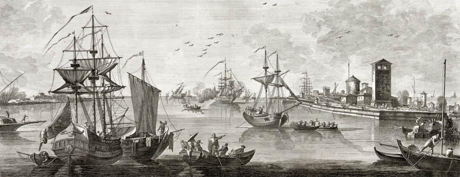 Storia di Venezia - Veduta del Porto di Malamocco, fine Settecento