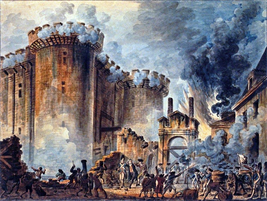 La presa della Bastiglia nel 1789, con al centro l'arresto di Bernard René Jourdan, marchese de Launay