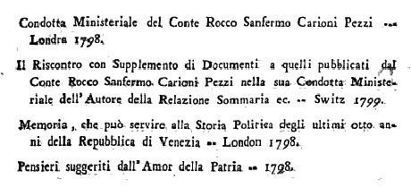 Storia di Venezia - Opuscoli a stampa pubblicati tra il 1797 e il 1799 sulla Caduta della Repubblica di Venezia