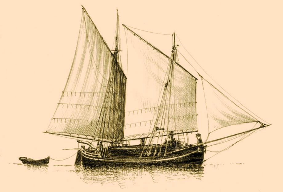 Storia di Venezia - Trabaccolo in navigazione a mezzo carico