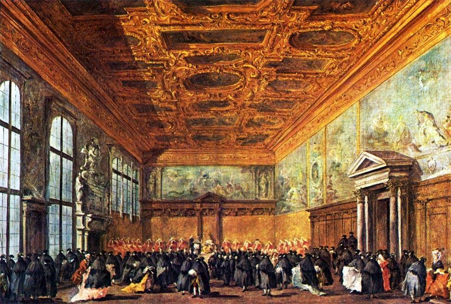 Storia di Venezia - Udienza del Doge nella Sala del Collegio in Palazzo Ducale a Venezia, quadro di Francesco Guardi, 1775-1780