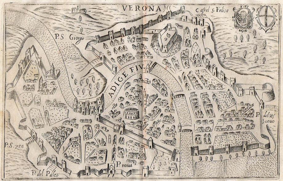 Storia di Venezia - Verona in una veduta prospettica di Andrea Scoto del 1643
